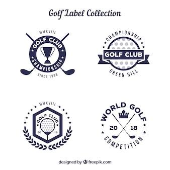 Set di etichette da golf in stile piatto