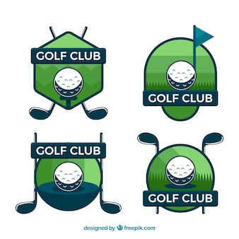 Set of golf labels in flat style