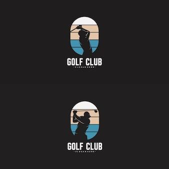 Set of golf player logo design template