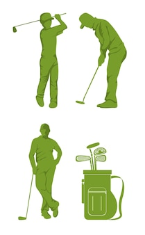 Set of golf sport equipment silhouettes