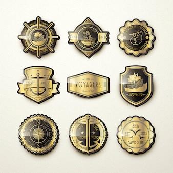 Set of gorgeous golden marine emblems isolated on beige background