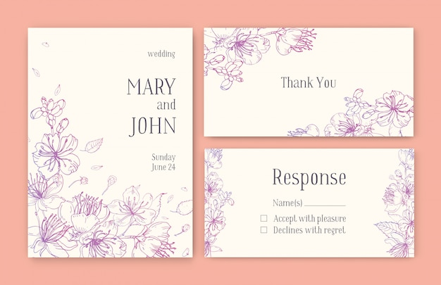 Set of gorgeous templates for save the date card, wedding invitation or thank you note with japanese sakura flowers hand drawn with pink contour lines