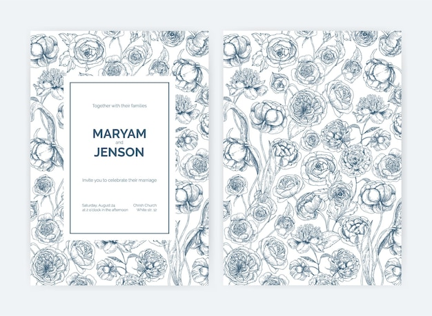 Set of gorgeous wedding invitation or save the date card templates
