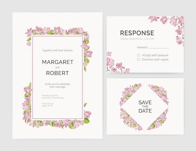 Set of gorgeous wedding invitation