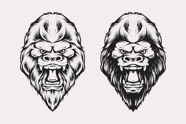 Set of gorilla head vector illustration in vintage monochrome style. suitable for t-shirts, prints, logos and other apparel products