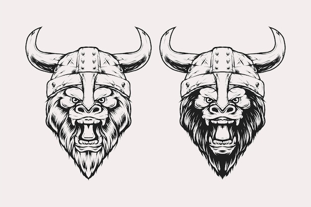 Set of gorilla head with viking helmet shield armour vector illustration in vintage monochrome style. suitable for t-shirts, prints, logos and other apparel products
