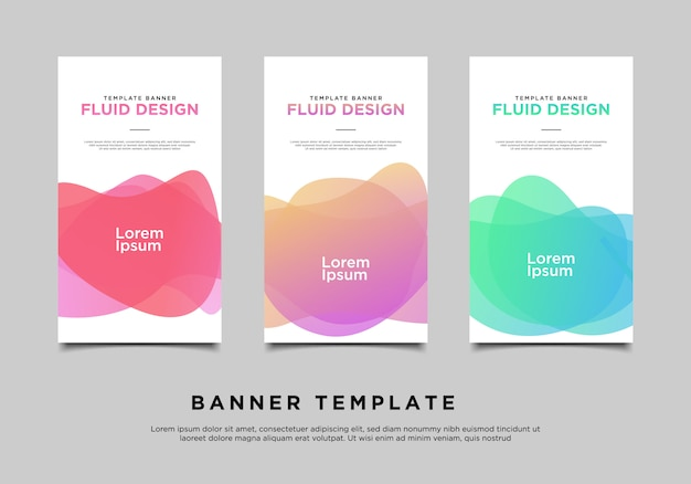 Set of gradient abstract banners with flowing liquid shapes
