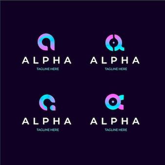 Set di modelli di logo alfa gradiente