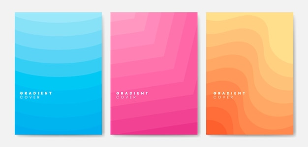 Set of gradient cover graphic designs
