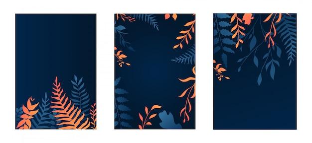 Set of gradient floral design