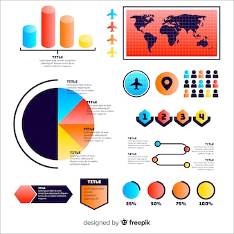Set of gradient infographic elements
