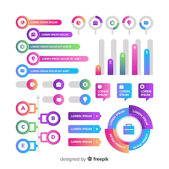 Set of gradient infographic elements