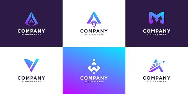 Set of gradient initial letter a logo template
