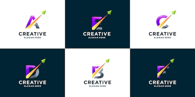 Set of gradient letter and arrow logo design
