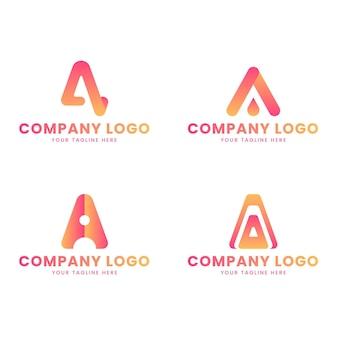Set of gradient a logo template