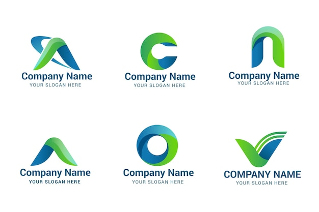 Set of gradient a logo templates