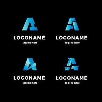 Set of gradient a logo templates
