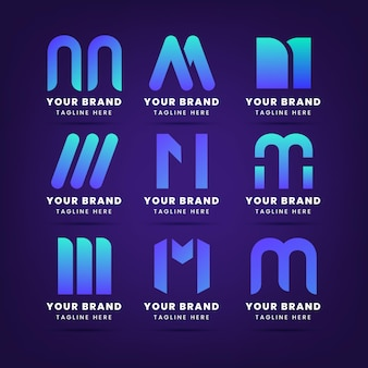 Set of gradient m logo templates