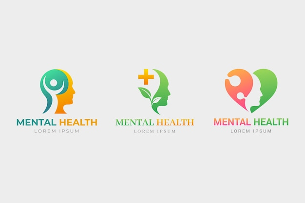 Set of gradient mental health logo