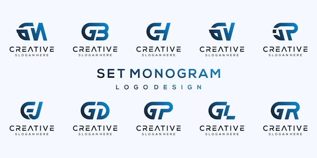 Set gradient monogram letter g logo design