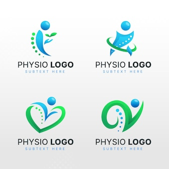 Set of gradient physiotherapy logo templates