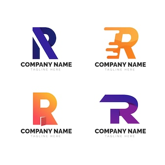 Set of gradient r logo templates