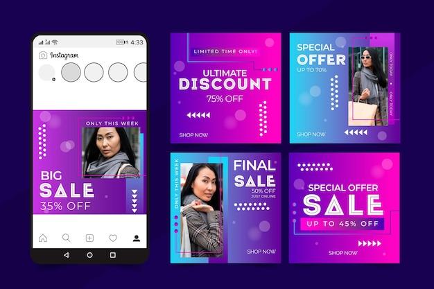 Set of gradient sale instagram posts