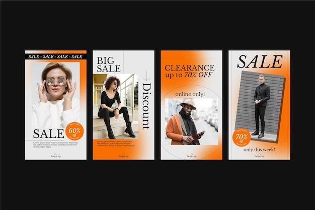 Set of gradient sale instagram stories
