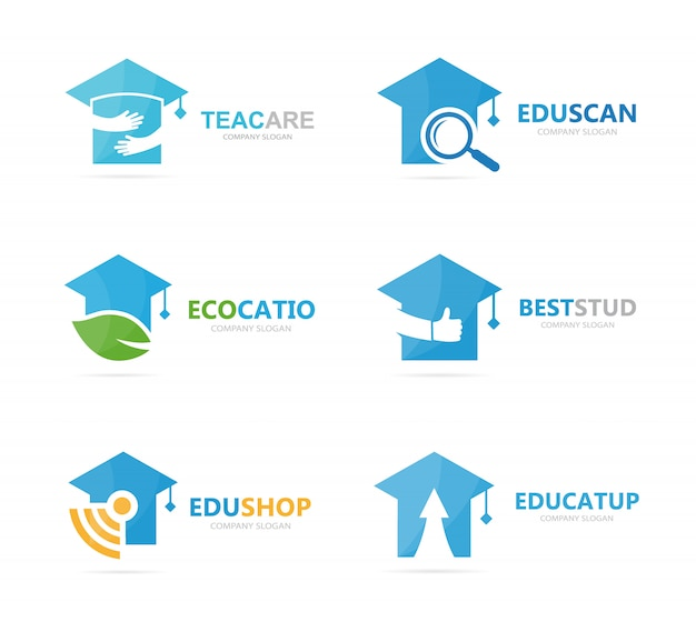 Set of graduate hat logo combination. school and college logotype design template.