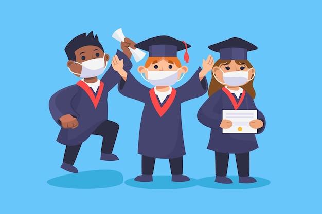 Set of graduates wearing medical masks