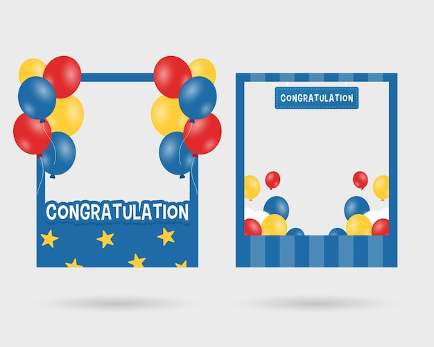 Set of graduation photo booth frame photo booth props template with balloons