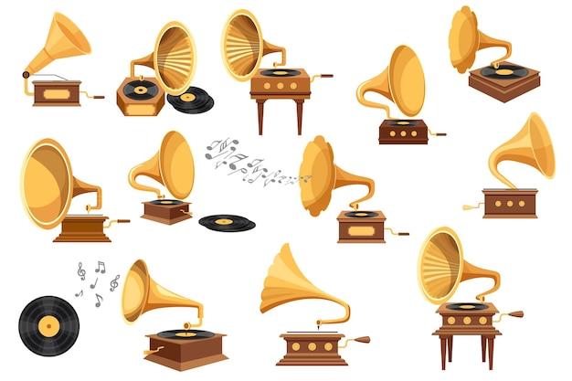 Установите граммофонный плеер, фонограф и виниловые диски, антикварное оборудование для прослушивания музыки, изолированный старинный классический аудио- и звуковой плеер и элементы мелодии. векторные иллюстрации шаржа, значки