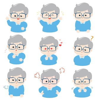 Set of grandfather face expression cartoon vector.