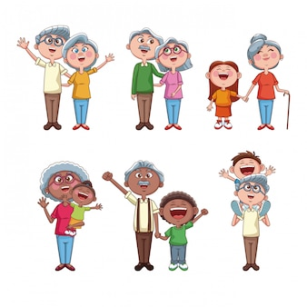 Set of grandparents with kids