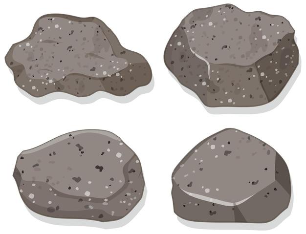 Set di pietre di granito isolati su sfondo bianco