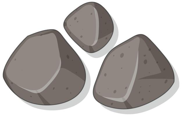 Set di pietre di granito isolate su sfondo bianco