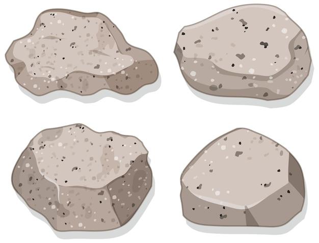 Set di pietre di granito isolato su bianco