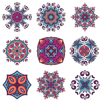 Set of  graphic abstract damask ornamental pattern. vintage design ethnic tribal ornamental tiles. damask  abstract elements