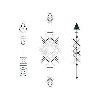 Set of graphic arrows for tattoo design