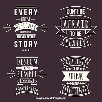 Set of graphic design quotes in flat style