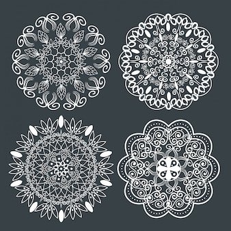 Set graphic mandala with ornamental style