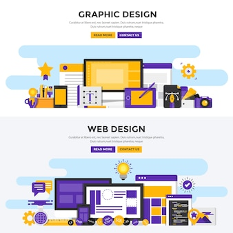 Set of graphic and web design