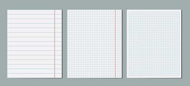 Set of graphical blank paper sheet. empty square grid coordinate plotting lined paper template pack.