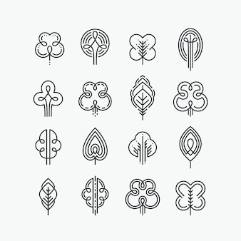 Set of graphical line trees and leaves, mono line  collection of nature signs, logos and symbols.