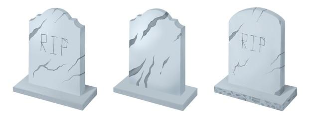 Set of gravestones for halloween isolated on white