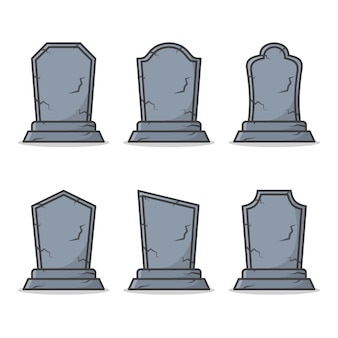 Set of graveyard tombstone isolated on white