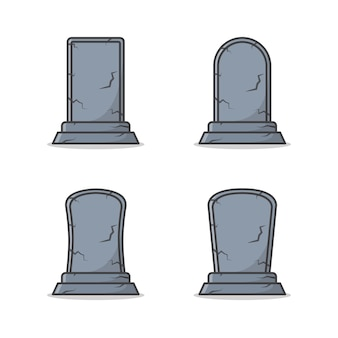 Set of graveyard tombstone vector icon illustration. gravestone flat icon. funeral symbol theme