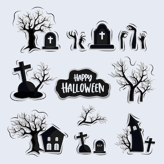Set of graveyards cartoon, halloween elements set, isolated on background