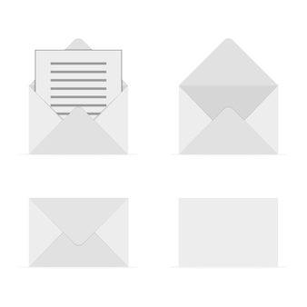 Set of gray envelopes.  illustration