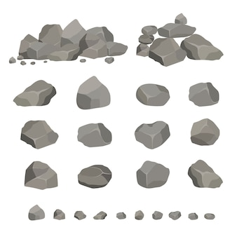 Set of gray granite stones of different shapes. element of nature, mountains, rocks, caves.